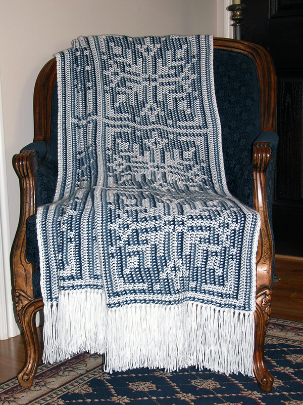 Evening Snow Reversible Afghan & Pillow Set